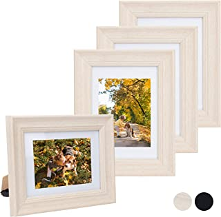 Beyond Your Thoughts 5X7 Picture Photo Frame Real Glass (2 Pack/4 Pack) with Matted for 4X6 Light Wooden White Color, Table Top and Wall Mounting Display