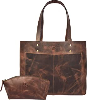 Leather tote bag for women top handle shoulder bag with leather cosmetic makeup case