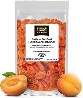 Traina Home Grown California Sun Dried Jumbo Ruby Royal Apricot - No Sugar Added, Non GMO, Gluten Free, Kosher Certified, ...