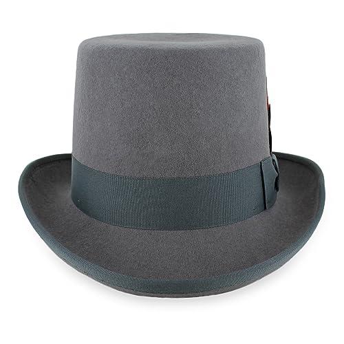 2e4ce304edc Belfry Topper 100% Wool Satin Lined Men s Top Hat in Black Grey Navy Pearl