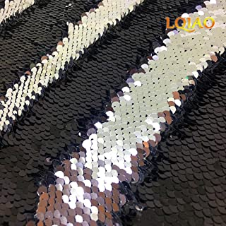 Reversible Sequin Fabric Black & Silver Two Tone Flip Up Mesh Lace Knit Mermaid Sequin Fabric Wedding Decoration/Evening Dress/Top/Jacket