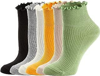 Womens Socks, Ruffle Turn-Cuff Ankle Crew Low Cut Casual Socks Knit Cotton Lettuce Dress Socks For Women 6/7 Pack