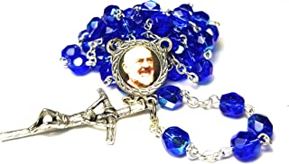 3rd class relic crystal glass rosary Saint Padre Pio Pietrelcina stigmata Francesco Forgione Capuchin patron of Civil defense volunteers Adolescents Stress relief Italy Malta enfermos