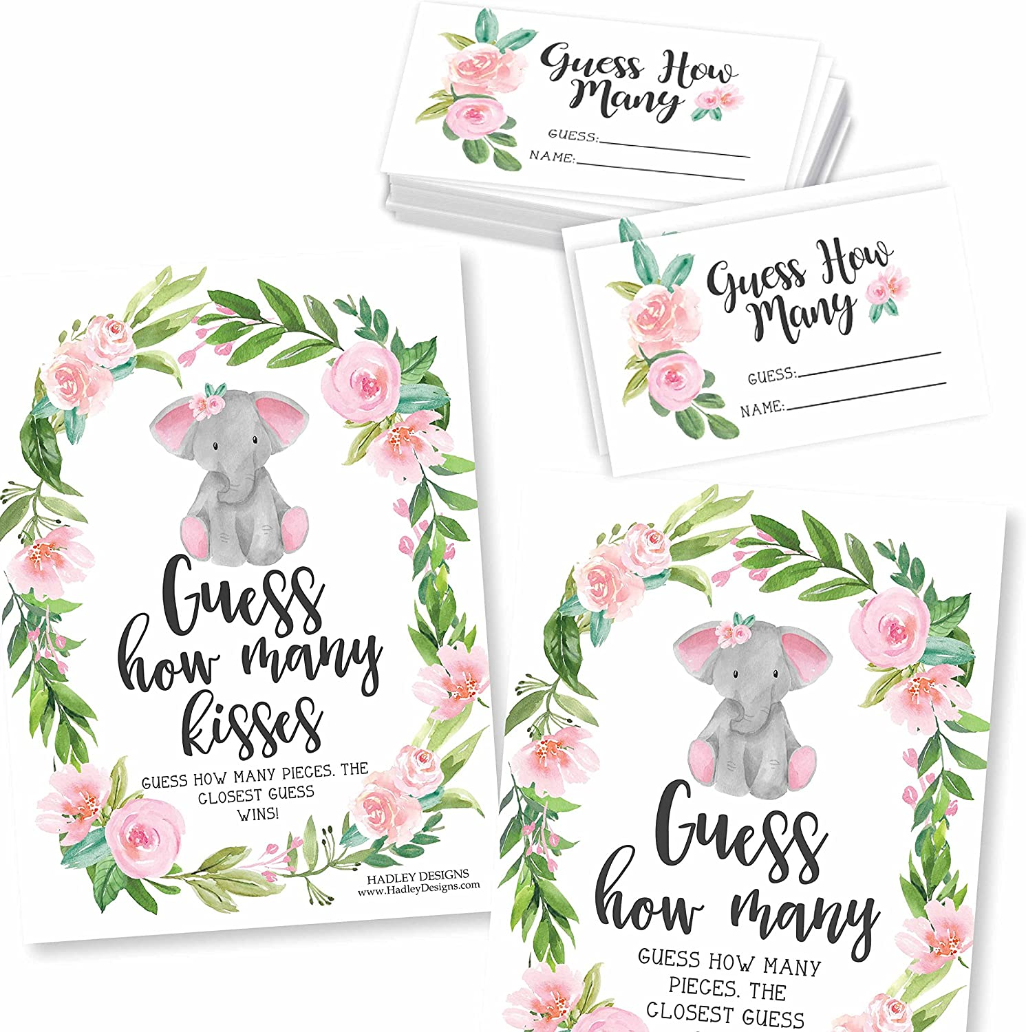 25 Guess How Many Baby Shower Games for Girls - Kids Birthday Party Games For Kids, Guessing Games, Pink Elephant Baby Shower Ideas, Party Games, Guess How Many Kisses Game, Baby Shower Supplies