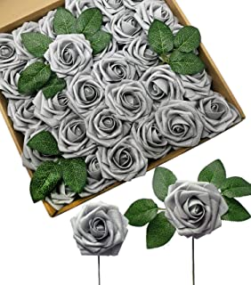D-Seven Artificial Flowers 30PCS Real Looking Fake Roses with Stem for DIY Wedding Bouquets Centerpieces Party Baby Shower Home Decorations (Silver Gray)