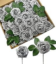 silver artificial roses