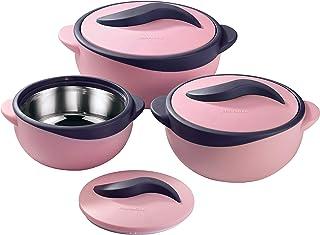 Pinnacle Stainless Steel Inner Casseroles - 3 Pieces (Parisa 500 + 1000 + 1500 ml, Pink)