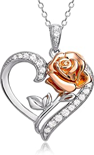 Beauty and the Beast Pink Gold Over Sterling Silver Two...