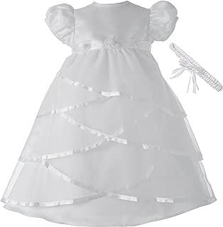 Baby-Girls Newborn Satin Criss Cross Design Dress Gown