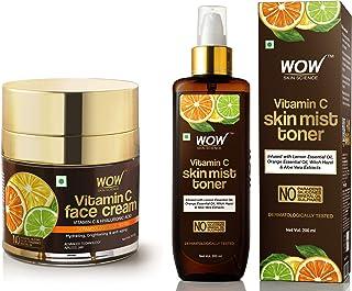 WOW Skin Science Vitamin C Face Cream, 50 ml and WOW Skin Science Vitamin C Skin Mist Toner with Lemon Essential Oil, Oran...