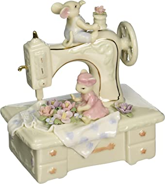 Cosmos 58022 Fine Porcelain Mice and Sewing Machine Musical Figurine, 6-Inch