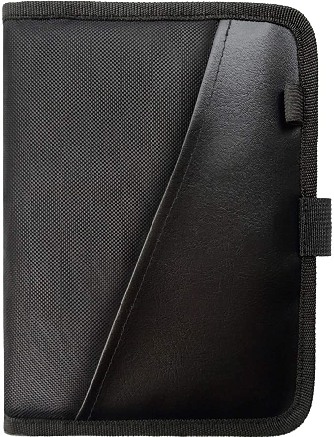 Glove Box Compartment Organizer - Car Document Holder - Owner Manual Case Pouch - Vehicle Storage Wallet for Registration & Insurance Card - Premium Auto Paperwork Holder - Log Book included - Black