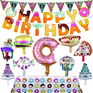 """Aliyaduo Donuts Birthday Party Decorations Donut Party Supplies, 2 PCS Donut Triangle Banners, 1 Set of Donut """"HAPPY BIRTHDAY"""" Banner, 9 PCS Cake and Food Shape Balloons, 1 PC Donut Tablecloth for Boy"""