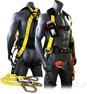 KwikSafety (Charlotte, NC) TYPHOON COMBO   3D Full Body Tongue Buckle w/Back Support Safety Harness, Bolt Pouch, 6' Lanyard, Tool Strap, ANSI PPE Fall Protection Equipment Construction Bucket