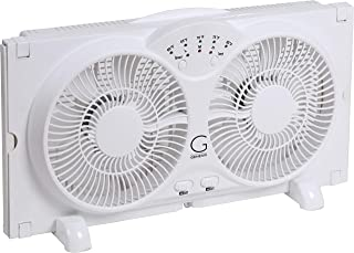 Genesis Twin Window Fan with 9 Inch Blades, High Velocity Reversible AirFlow Fan, LED Indicator Lights Adjustable Thermostat & Max Cool Technology, ETL Certified (Renewed)