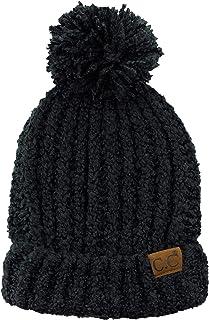 dd67480e5cf C.C Women s Chenille Soft Stretchy Pom Cuffed Knit Beanie Cap Hat