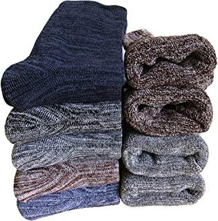 Mens Winter Wool Crew Socks - Soft Comfort Thick Casual Cotton Warm Socks (Pack of 5),Multicolor,One Size