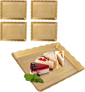9 x 13 Gold Plastic Serving Trays 4 Pack Platters Disposable For Parties