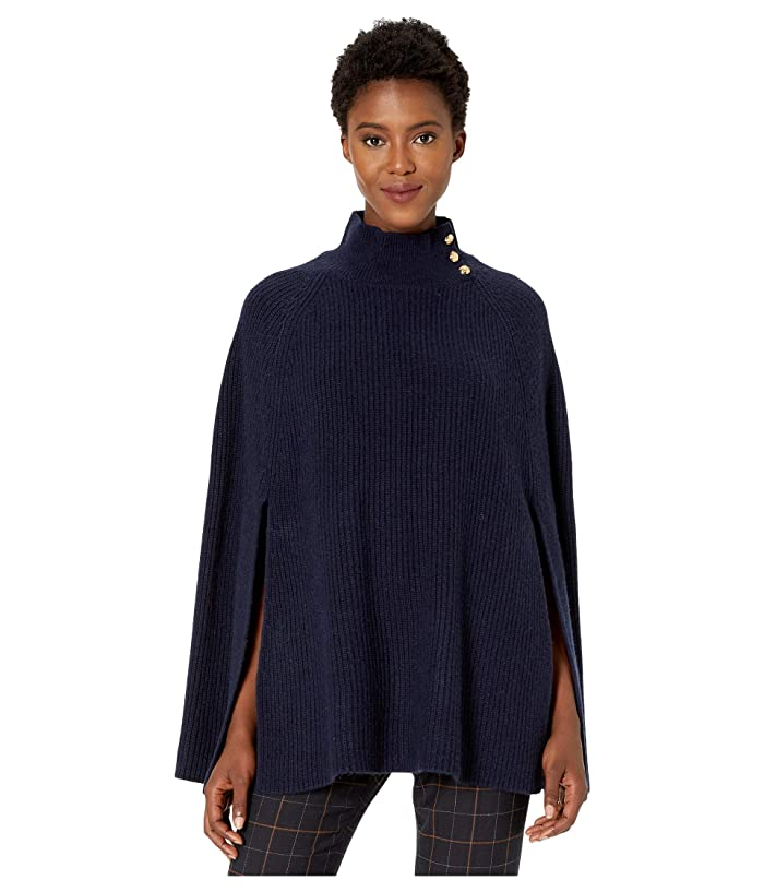 LAUREN Ralph Lauren  Solid Rib Poncho (Navy) Womens Clothing