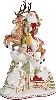 Fitz and Floyd Damask Holiday Up on the Up on the Housetop Santa Figurine, 19-Inch, Red