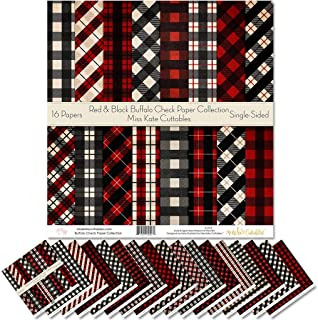 """Pattern Paper Pack - Red & Black Buffalo Check - Christmas - Scrapbook Specialty Paper Single-Sided 12""""x12"""" Collection Inc..."""