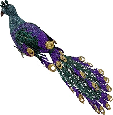 Merci 11-Christmas Tree Ornaments-Peacock Cake Topper-Glittered Feather Peacock Ornaments with Clip-On (Purple)