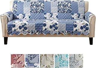 Great Bay Home Patchwork Scalloped Printed Furniture Protector. Stain Resistant Couch Cover. (74