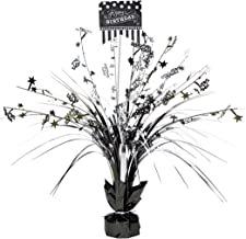 Amscan 110271 Classic Birthday Foil Centerpiece Table Decoration SPRAY CP BW, 1, Black and White