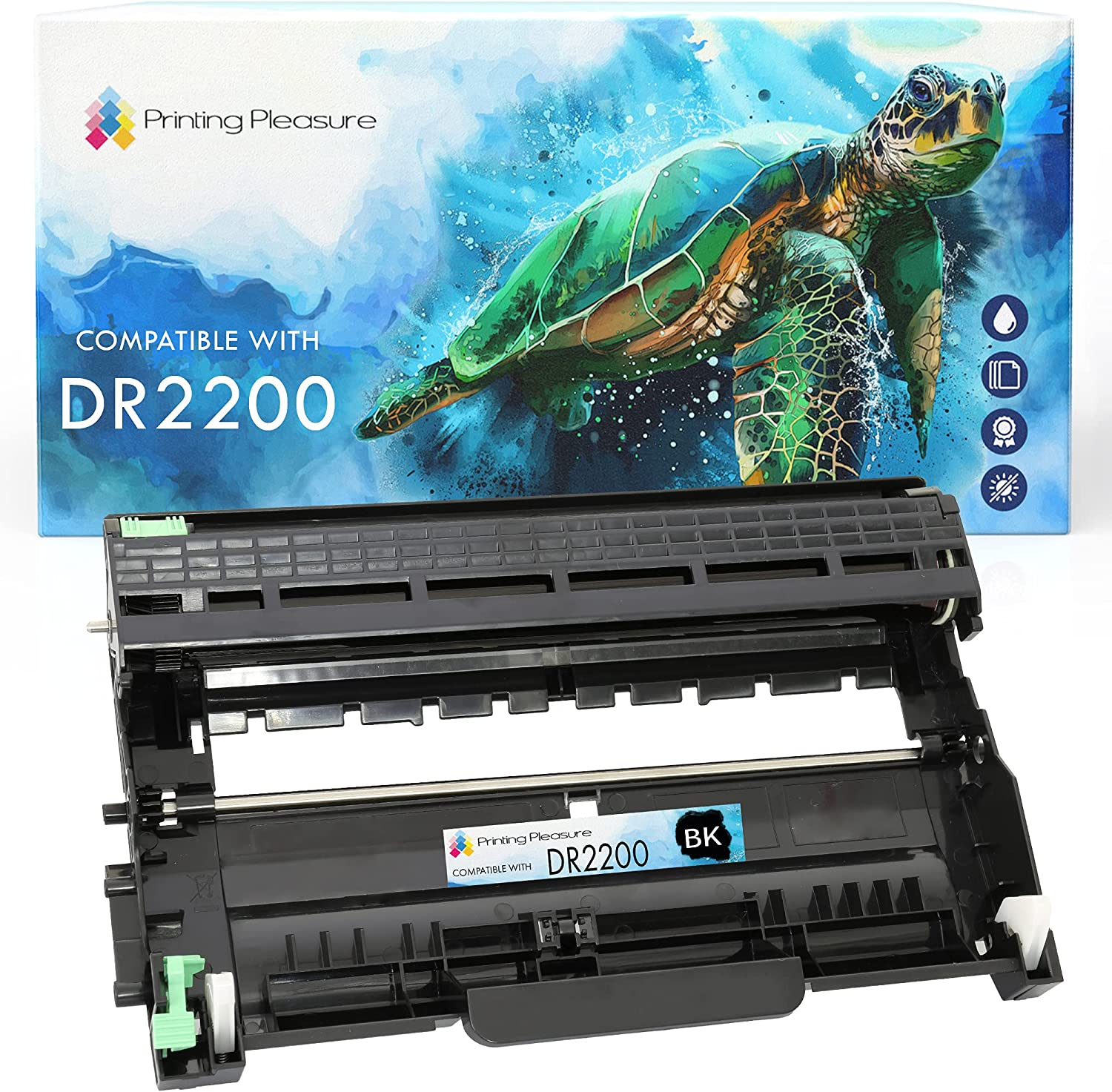 Printing Pleasure DR2200 Drum Unit compatible with Brother DCP-7055 DCP-7060D DCP-7065DN HL-2130 HL-2132 HL-2135W HL-2240 HL-2240D HL-2250DN HL-2270DW MFC-7360N MFC-7860DW FAX-2840 - Black, High Yield