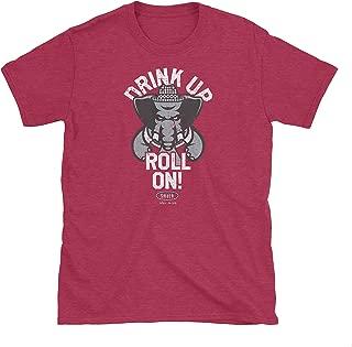 Alabama Football Fans. Drink Up Roll On! Heather Cardinal T-Shirt (Sm-5X)