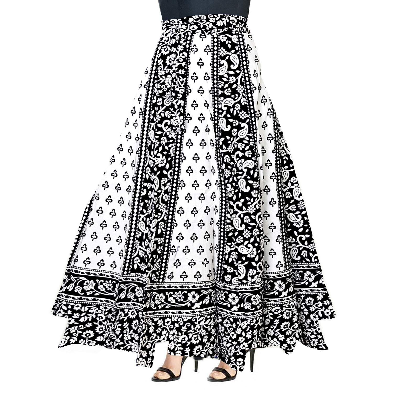 SK/_241, Multicolour, Free Size For Women jwf Women/'s Cotton Regular Fit Leheriya Printed Long Skirt