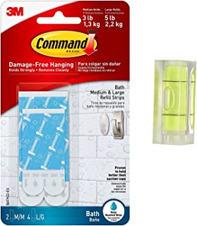 Command Bath Water Resistant Refill Strips, 2-Medium and 4-Large Strips (BATH22-ES) With Bubble Level Measuring Tool