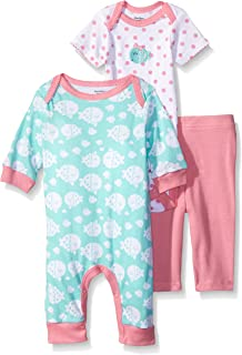 GERBER Baby Girls' 3-Piece Coverall,  Bodysuit,  and Legging Set