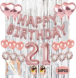 21st Birthday Decoration Kit. Kwayi Rose Gold Birthday Parity Supplies with HAPPPY Birthday Balloon Large Number 21 Sliver Curtain Birthday Sash Totally 34PCS for Birthday Decoration