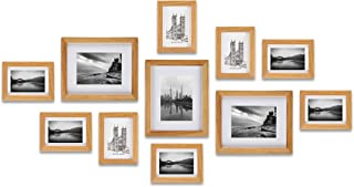 Ray & Chow Gallery Wall Picture Frames Set- Oak Wood- 11 Frames- Solid Oak Wood- Glass Window-Made to Display 8x10 5x7 Pictures Without Mat or 5x7 4x6 Pictures with Mat - Hanging Hardware Included