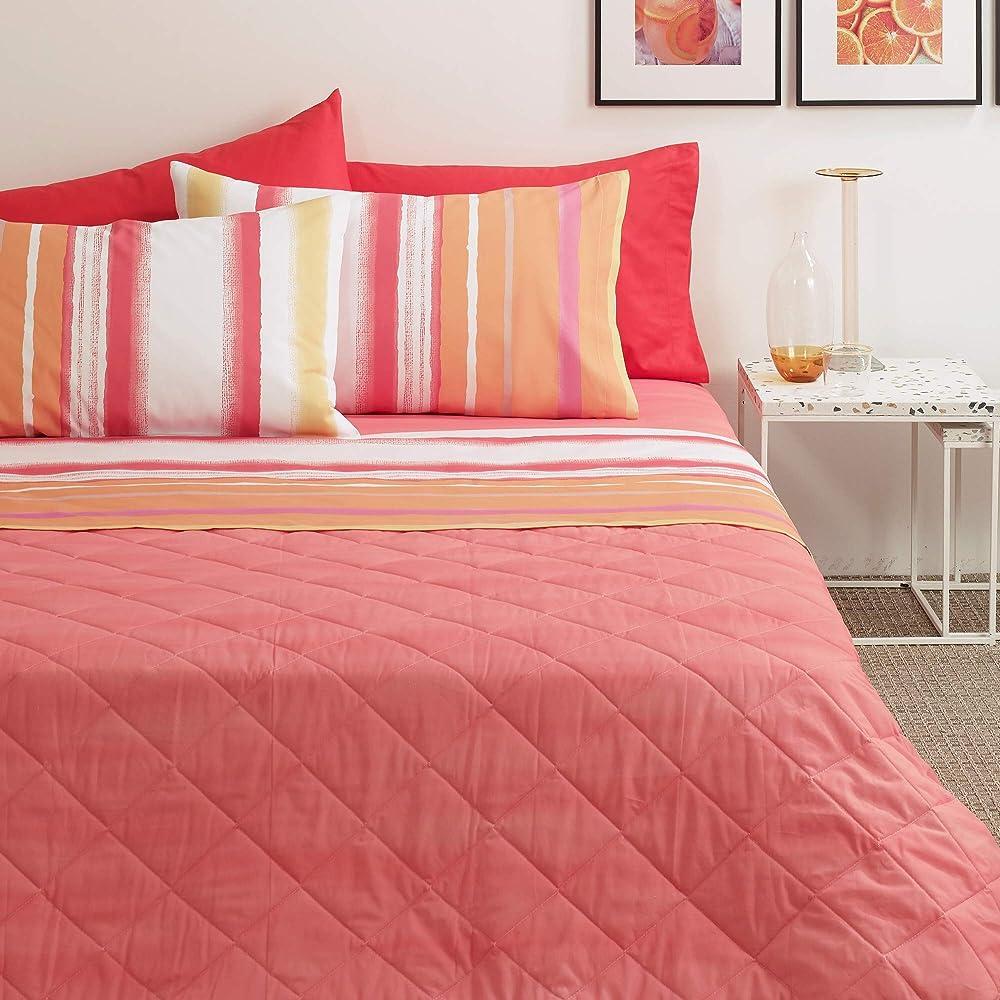 Bassetti, lenzuola letto matrimoniale, 100% cotone, lenzulo sotto piu` sopra piu` 2 federe Aragon