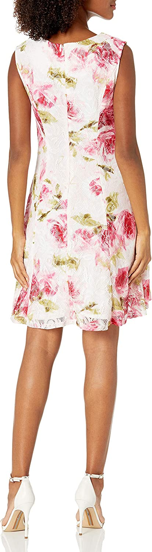 Sandra Darren Women's 1 Pc Extended Shoulder Crochet Lace Dress