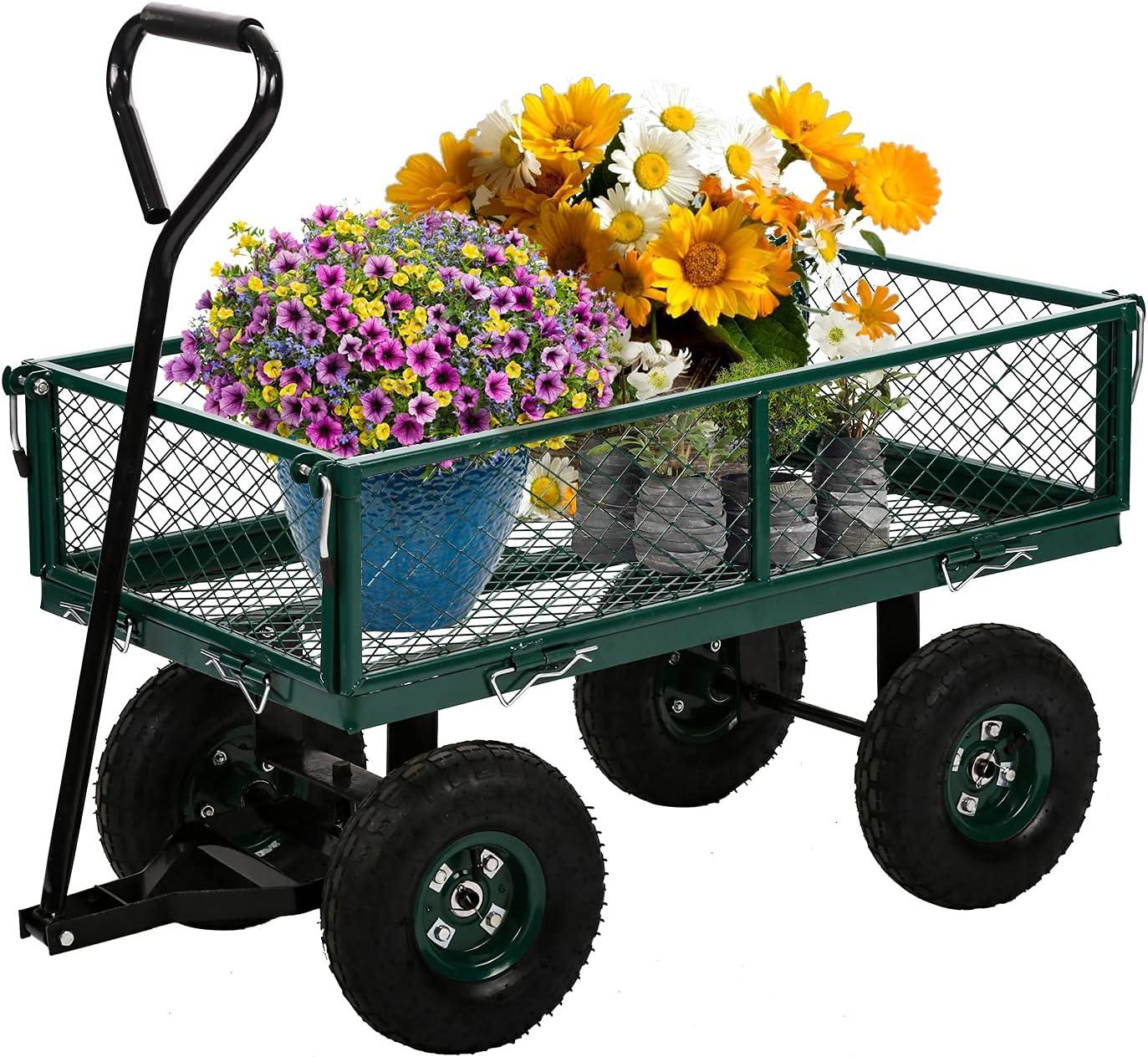 HCY Wagons Cart Ranking Super popular specialty store TOP14 Heavy Duty Mesh Lawn Ut Steel Garden 400Lbs