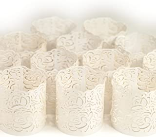 Frux Home and Yard Votive Candle Holders - Flameless Tea Light Votive Wraps- 48 White Colored Laser Cut Decorative Wraps Flickering LED Battery Tealight Candles (not Included)