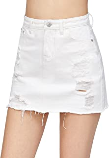 Verdusa Women's Casual Distressed Fray Hem A-Line Denim Short Skirt