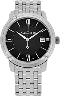 Alexander Heroic Macedon Mens Dress Watch Stainless Steel Metal Band - 40mm Analog Black Face with Second Hand Date and Sapphire Crystal - Classic Swiss Made Quartz Watches for Men A111B-03