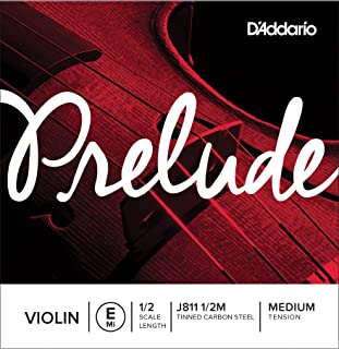 D'Addario Prelude Violin Single E String, 1/2 Scale, Medium Tension