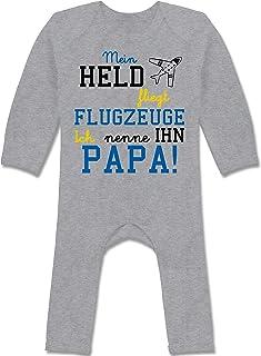 Shirtracer Sprüche Baby - Mein Held fliegt Flugzeuge - Baby-Body Langarm für Jungen und Mädchen