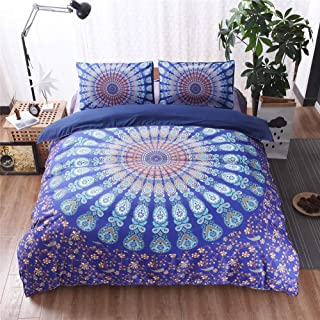 Argstar 3 Pcs Bohemian Duvet Cover King, 3D Blue Purple Mandala Bedding Set, Circle and Paisey Down Comforter Cover, Boho ...