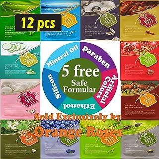 {Entel} 12 Pcs Combo-Pack, Korean Essence Facial Mask Sheet (12 Types x 1 pcs), Korean Facial Mask Pack without 5 Chemicals -- No Paraben, No Silicon, No Mineral Oil, No Artificial Colors, No Ethanol