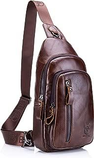 Mens Sling Bag Genuine Leather Chest Shoulder Backpack Crossbody Outdoor Travel Casual Daypack