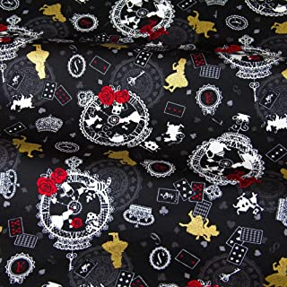Lavenz 50cm110cm Japanese Kokka Bronzed Oxford Cotton Fabric Patchwork Quilting Fabric Retro Alice in Wonderland B