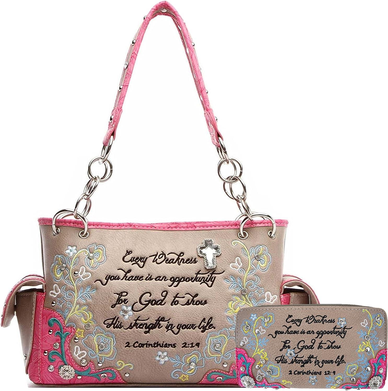 Embroidery Floral Bible Verse Scripture Purse Western Style Handbag Women Shoulder Bag Wallet Set Fuchsia
