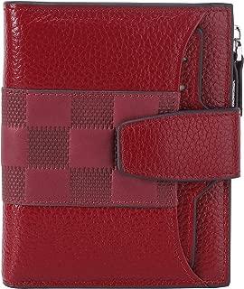 AINIMOER Women's RFID Blocking Leather Small Compact Bi-fold Zipper Pocket Wallet Card Case Purse(Stitched Wine)
