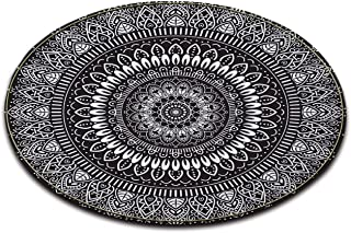 Black White Round Mandala Area Rug Mat by LB, Indian Oriental Medallion Hippie Hipster Decor Rug for Teepee Living Room Dining Room Study Apartment Floor, 4 ft